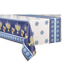 "Unique Happy Hanukkah Dreidel & Menorah 54""x84"" Plastic Tablecover, Blue Yellow"