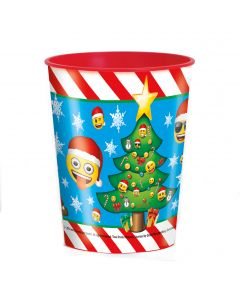 Unique Emoji Christmas Tree High Quality 16oz Party Cup, Blue Red