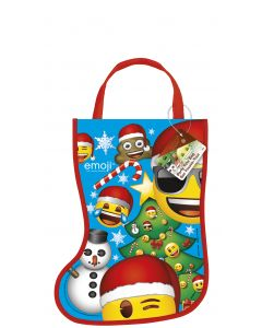 "Unique Holiday Emoji Tote Bag Christmas Stocking, 13"" Tall, Blue Yellow"