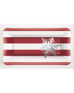 "Elegant Christmas Striped Snowflake 9""x5"" Appetizer Plates, Red White, 8 CT"