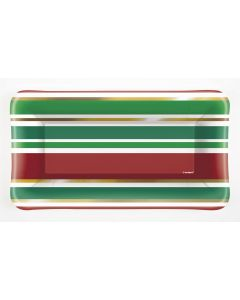 """Unique Chic Christmas Striped 9""""x5"""" Appetizer Plates, Green Gold, 8 CT"""