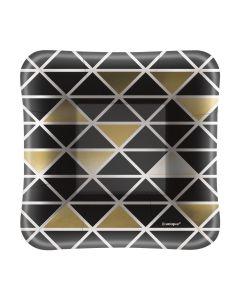 "Chic New Year's Eve Geometric Appetizer 5"" Dessert Plates, Black Gold, 8 CT"