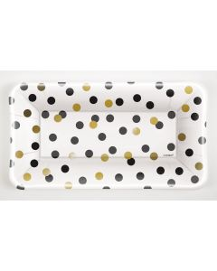 """Unique Chic New Year's Eve Polka Dot 9""""x5"""" Appetizer Plates, White Gold, 8 CT"""