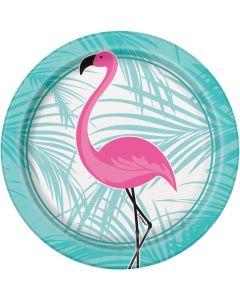 """Unique Flamingo Summer Luau Party Paper 7"""" Dessert Plates, Pink Blue, 8 CT"""