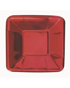 """Christmas Holiday Foil Square Appetizer 5"""" Dessert Plates, Metallic Red, 8 CT"""