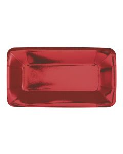 """Christmas Holiday Foil Rectangular 9""""x5"""" Appetizer Plates, Metallic Red, 8 CT"""