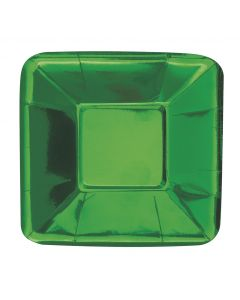 """Christmas Holiday Foil Square Appetizer 10"""" Dessert Plates, Metallic Green, 8 CT"""