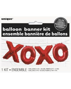"Unique Valentine's Day XOXO Foil 4pc 14""x9' Balloon Banner Kit, Red"