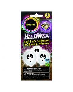 "Unique Halloween Pumpkin Illooms LED Light Up 9"" Balloon Pack, Orange, 3 CT"