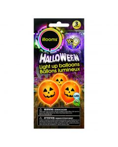 """Unique Halloween Ghost Illooms LED Light Up 9"""" Balloon Pack, White, 3 CT"""