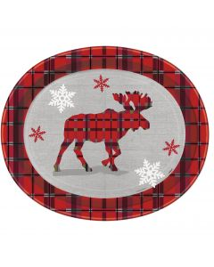 "Rustic Plaid Christmas Large Durable Paper 12.25"" Oval Plates, Red Grey, 8 CT"