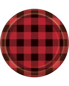"Plaid Lumberjack Rustic Christmas Round Paper 7"" Dessert Plates, Red Black, 8 CT"