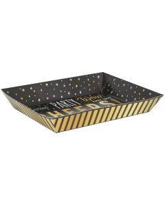 "Unique You Did It! Graduation Snacks 15"" Paper Serving Tray, Gold Silver Black"