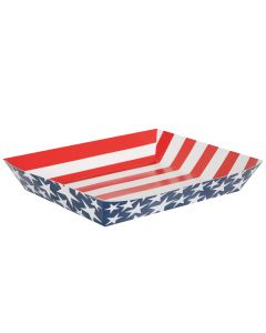 "Stars & Stripes July 4th Patriotic Snack 15"" Paper Serving Tray, Red White Blue"