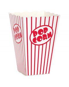 """Unique Medium Classic Striped Popcorn 6.25"""" x 4"""" Popcorn Box, White Red, 10 CT"""
