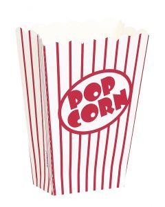 """Unique Small Classic Striped Popcorn 5.25"""" x 3.75"""" Popcorn Box, White Red, 8 CT"""