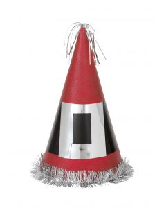 "Unique Giant Glitter Santa Buckle 13"" Party Hat, Red Black Silver"