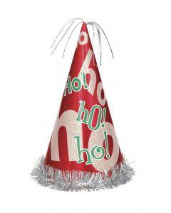 """Unique Christmas HO HO HO Tinsel Festive Seasonal 13"""" Party Hat, Red"""