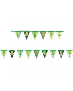 Unique Happy St. Patrick's Day Flag 14ft Pennant Banner, Green Lime White