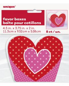 """Valentine's Day Heart Shaped Polka Dot 4.5""""x3.75""""x2"""" Favor Boxes, Pink Red, 8 CT"""