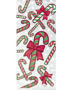 "Unique Festive Candy Cane 11"" Favor Bags, Clear Red Green Party Supplies, 20 CT"