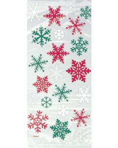 "Unique Festive Holiday Snowflakes 11"" Cello Bags, Transparent Red Green, 20 CT"