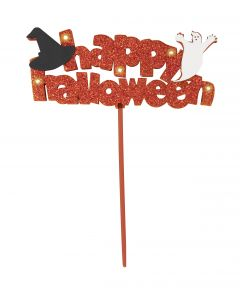"Unique Happy Halloween Flashing decoration 9""x6"" LED Decoration, Orange"