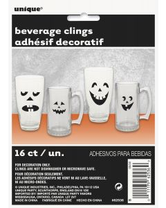 Unique Halloween Party Essential Beverage Glass Clings, Black, 16 CT