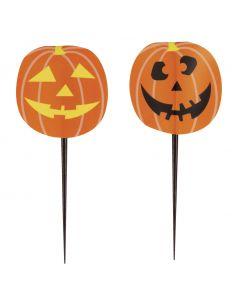 "Unique Halloween Party Pumpkin 3.5"" Cupcake Picks, Orange, 8 CT"