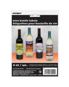 Unique Halloween Party Wine 4pc 5IN x 4.25IN Bottle Labels