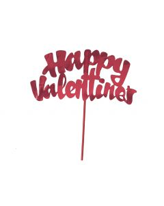 Unique Happy Valentine's Day Shiny Foil 6in Cake Topper Pick, Red