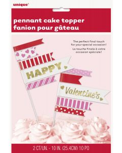 """Unique Happy Valentine's Pennant Flag 2pc 9.5"""" Cake Toppers, Pink Red"""