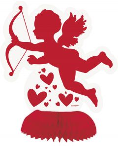 Unique Valentine's Day Cupid Honeycomb 6in Table Centerpieces, Red White, 4 CT