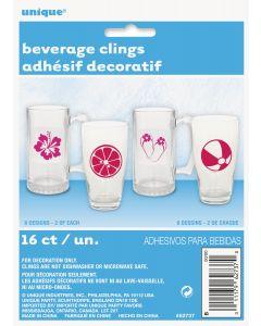 Unique Minimalist Summer Fun Tropical Beach Beverage Clings, Pink, 16 CT