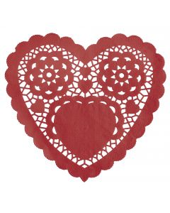 Unique Valentine's Day Lace Heart Shaped Paper 6in Doilies, Red, 30 CT