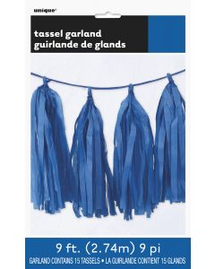 Unique Solid Color Graduation Decoration Tissue Tassel 9ft Garland, Royal Blue