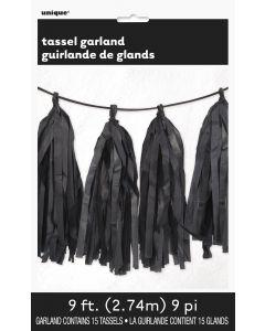 Unique Solid Color Graduation Decoration Tissue Tassel 9ft Garland, Black