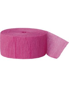 Unique Team Spirit Solid Color 81ft Crepe Party Streamer, Hot Pink