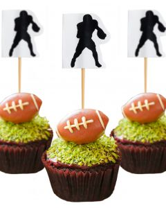 "Unique Silhouette Football Player 3"" Food Picks, Black White, 8 CT"
