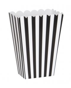 "Football Referee Striped Party Serving Box 5"" Popcorn Box, Black White, 8 CT"