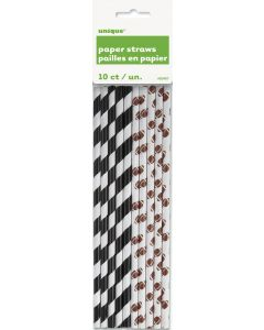 "Football & Referee Stripes Party Drink 8"" Paper Straws, White Black Brown, 10 CT"