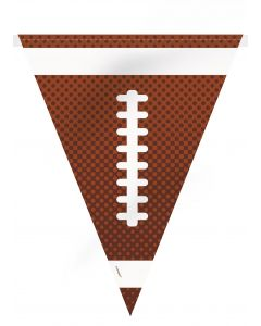 Unique Football Party Decoration Plastic 14' Pennant Banner, Brown White