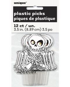 "Unique Halloween Spooky Skeleton Plastic Topper 3.5"" Cupcake Picks, White, 12 CT"