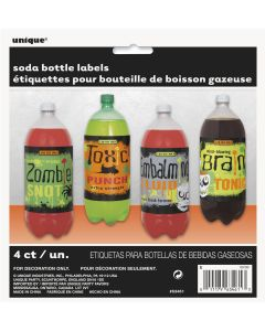 Unique Halloween Party Supply Soda 4pc 7 IN x 6 IN Bottle Labels