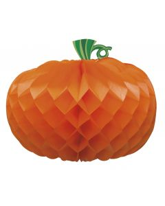 Halloween Pumpkin Shape Honeycomb Centerpiece 10.75 IN Table Decoration, Orange