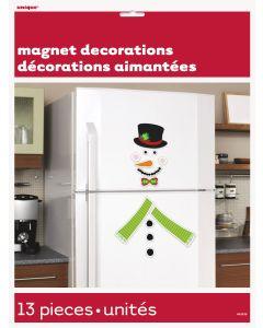 "Unique Happy Holidays Fun Build a Snowman Refrigerator 13pc 10"" Magnets Sheet"