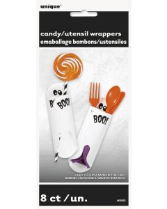 """Unique Cute Ghost Candy/Utensil 7.75"""" x 7"""" Wrappers, White, 8 CT"""