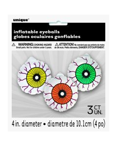 "Unique Inflatable Spooky Eyeballs 4"" Inflatable Decor, White Red, 3 CT"
