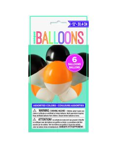 """Unique Two-Toned Dipped 12"""" Balloon Pack, White Black Orange, 6 CT"""