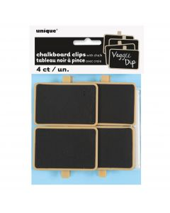 Unique Chalkboard Food Sign Clips w/ Chalk Party Serveware Set, Black Tan, 4 CT